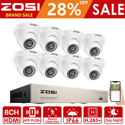 ZOSI 8CH 1080N HD-TVI DVR 1500TVL Outdoor Dome Home CCTV Security Camera System
