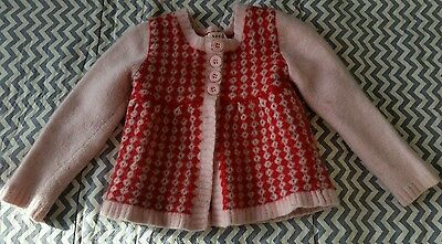SEED Baby Girl Cardigan Jumper Size 4-5(more like size1-2)Lambswool/Angora/nylon