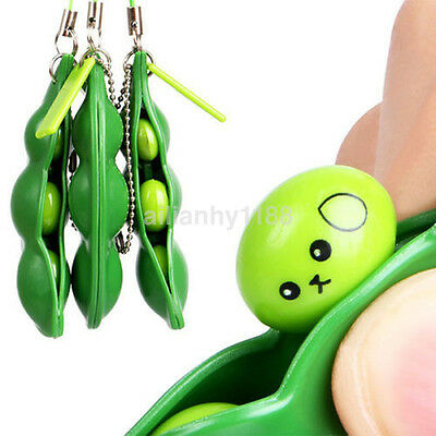 Fun Cute Pinch Bean keyring Pendant Fidget Stress Relief Toy For Adults Kids US