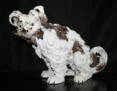 "Edme Samson Ceramics ""Porcelain Bolognese Hound Dog"" original antique, Signed!"