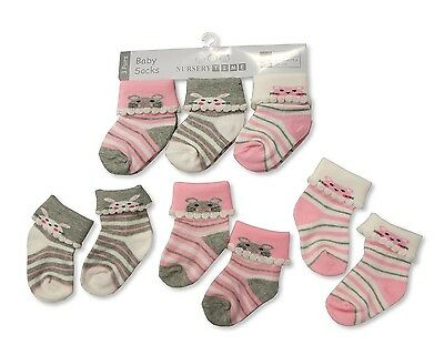3 Pairs of Baby Socks Pink Bunny, Cat & Mouse Socks 0-3 or 3-6 Months