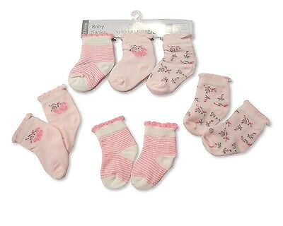 3 Pairs of Baby Girls Socks Pink Floral & Butterfly Design 0-3 or 3-6 Months