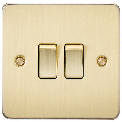 Knightsbridge Flat Plate 13A Switched Fused Spur Neon Brushed Brass x1