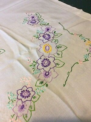 "vintage hand embroidered tablecloth Purples & Greens 48"" X46"""