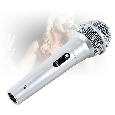 QTX Silver Dynamic Karaoke Microphone Singing DJ Party Entertainer Mic & Cable