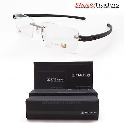 Tag Heuer Reflex 3 Rimless Titanium Optical Glasses Frame Pure Black 3941 008 56