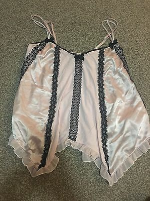 Victoria's Secret Pj Top XS Satin Lace Pale Pink Like New