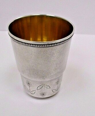 Antique old gilded Silver vodka cup Russian USSR 916