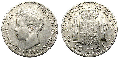 Alfonso Xiii. 50 Centimos. 1896 *96