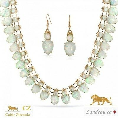 Genuine Opalite Necklace & Earring Set  ( Retail $ 129.95 )