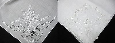 Pair of Vintage White Embroidered Wedding Fancy Handkerchiefs Linen REDUCED