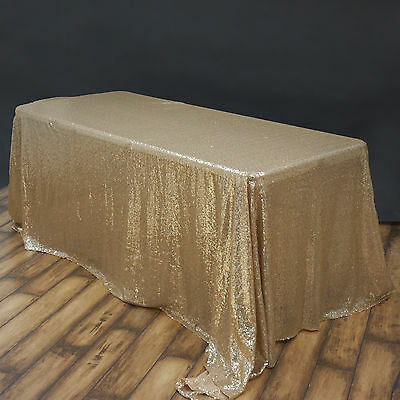 "90x132"" Champagne SEQUIN RECTANGLE TABLECLOTH Wedding Party Catering Linens SALE"