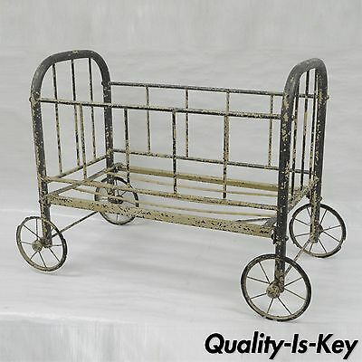 Antique Iron Baby Carriage Rolling Doll Cradle Buggy Bed Painted Store Display