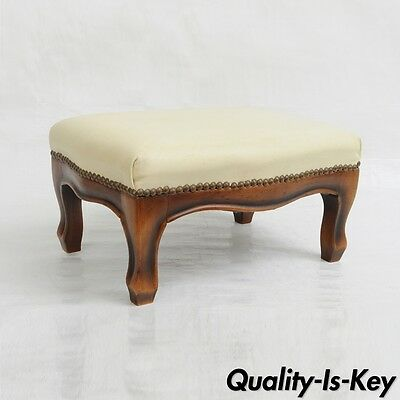 Vtg Italian Carved Wood Small Foot Stool Ottoman Petite French Country Leather A