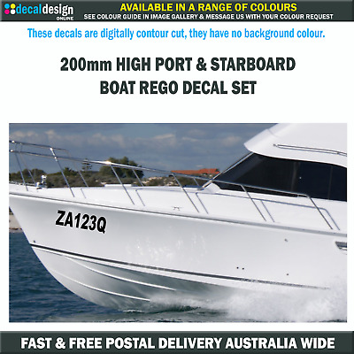 Boat Rego Decal Set includes Port & Starboard Registration Stickers 200mm High