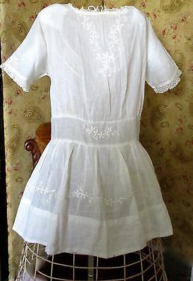 Antique Edwardian Girls Lawn Embroidered Lace Dress Bridal