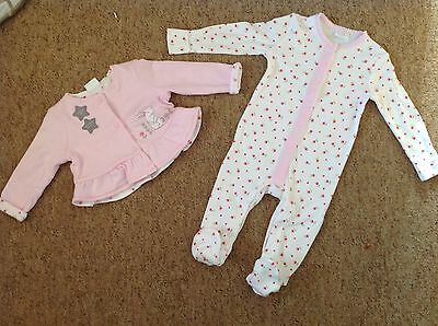 Baby Girls Sleepsuit Playsuit Outfit With Jacket. 3 6 Months New Pink All In One