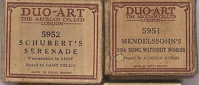 Pianola Duo-Art Music Roll x 2 Serenade Schubert + Songs Without Words No.19