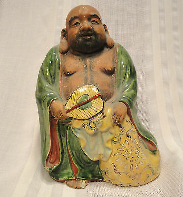 Outstanding Chinese Famille Verte Antique Man or Buddha Statue Figure 19th Cent.