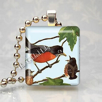 ROBIN MOTHER AND BABY BIRD Scrabble Tile Altered Art Pendant Jewelry Charm