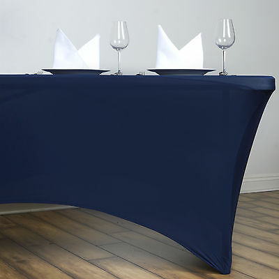 Navy Blue 6 ft RECTANGLE SPANDEX STRETCH TABLE COVER Fitted Tablecloth Wedding
