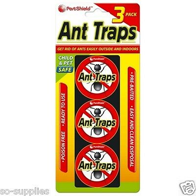 3 Pack Ant Trap Traps Baited Glue Anti Stop Nest Kill Killer Poison Free Indoor