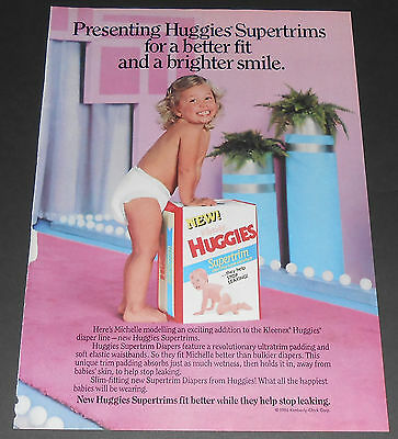 1986 vintage print ad - HUGGIES SUPERTRIM BABY DIAPERS - 1-PAGE AD bedwetting