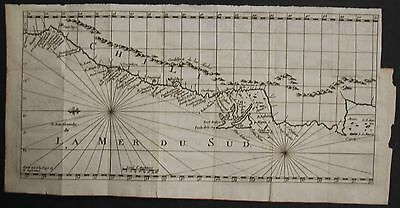 CHILE SOUTH AMERICA 1700ca ANONYMOUS UNUSUAL ANTIQUE COPPER ENGRAVED SEA CHART