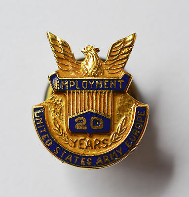 Button Pin vergoldet USA 20 Years Employment United States Army Europe