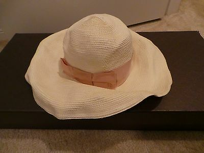 544483ce58705  435 Gucci Hat Straw Havana Wide Brimmed Grosgrain Logo Pink Ribbon S Small