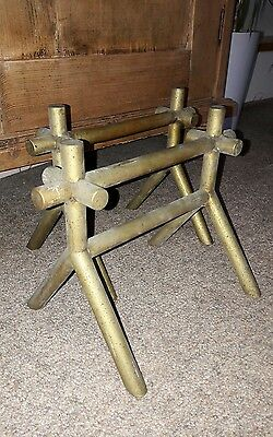 Great Pair Of Antique Christopher Dresser Brass Fire Dogs 19Th Century