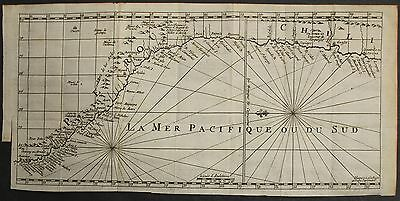 PERU & NORTHERN CHILE 1700ca ANONYMOUS UNUSUAL ANTIQUE COPPER ENGRAVED SEA CHART