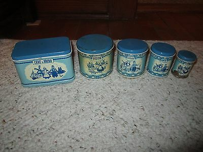 Vintage Wolverine Child's Toy Canisters & Bread Box Dutch Blue/White
