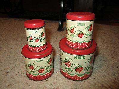 4 Vintage Child's Toy Wolverine Canisters Strawberry Pattern!!!