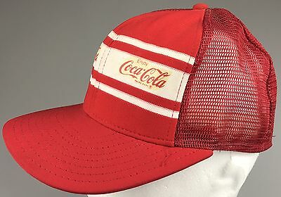 1970s Vintage COCA COLA Mesh Trucker Hat Red White Superstripe AJD Made In USA