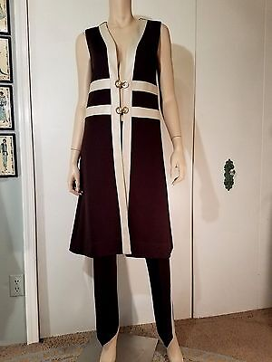 Vtg 1960s 1970s - Long Open Duster Vest Tunic Pant Suit - Faux Leather Trim
