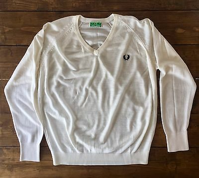 "Vintage Fred Perry White V Neck Jumper. Green Label. 40"" Medium. Rare! Mod/Skin"