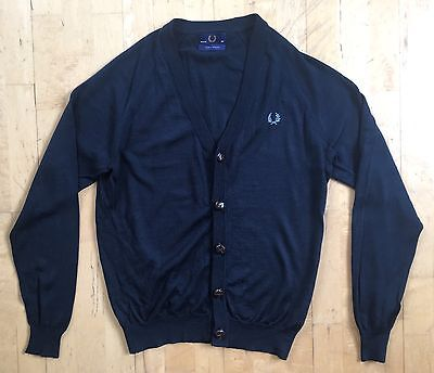 "Vintage Fred Perry blue cardigan. 40"" Medium. Made in England. Mod/Ska/Skin"
