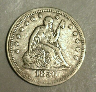 1856  Seated Liberty Silver Quarter Dollar  Circulated   Nice Looking Coin!!!!