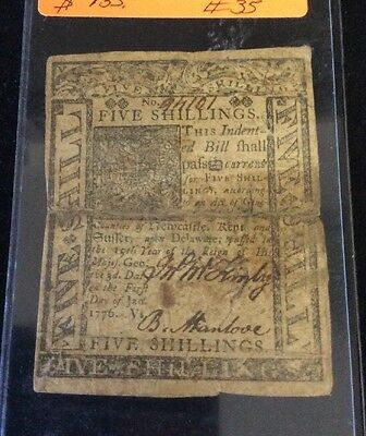 1776 Colonial Currency From Delaware (5 Shillings)