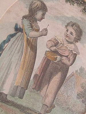 Antique Victorian Framed & Mounted Print Boy & Girl