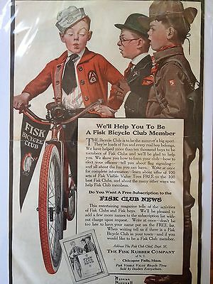 Antique Original Print Ad 1917 (A20U)~Fisk Rubber Co. Bicycle Norman Rockwell