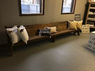 Vintage Church Bench Pew 11' Awesome markings! Beautiful!