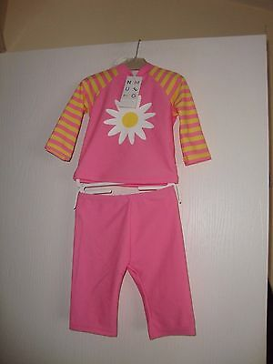 Nutmeg Baby Girls 2 Piece Pink / Yellow Flower Sun Protection Suit 6-9 Mths Bnwt