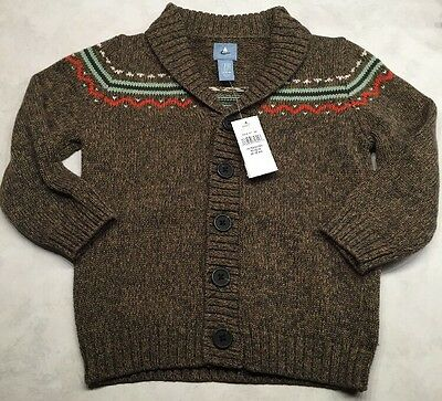 NWT Baby Gap Cardigan Sweater Caramel Khaki Brown Button Up 18 - 24 Months Boys