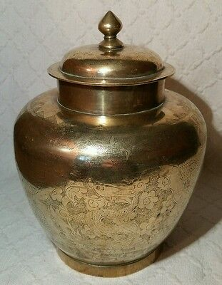 Vintage Large Chinese Brass Ginger Jar With Engraved Dragon Decoration