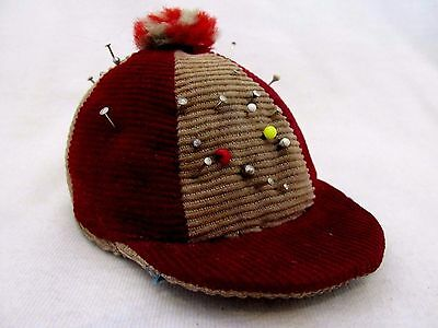 Antique Victorian Narrow Wale Corduroy Pin Cushion In Shape Of Jockey Cap Or Hat