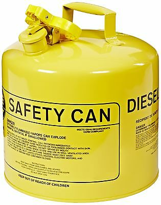 "Eagle UI-50-SY Type I Metal Safety Can, Diesel, 12-1/2"" Width X 13-1/2"" Depth,"