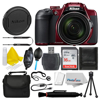 Nikon COOLPIX B700 Digital Camera (Red) + 16GB Deluxe Accessory Bundle