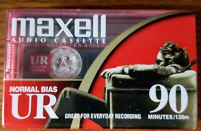 NEW Maxell UR 90 Minute Blank Cassette Normal Bias Audio Sealed NOS (6 avail.)